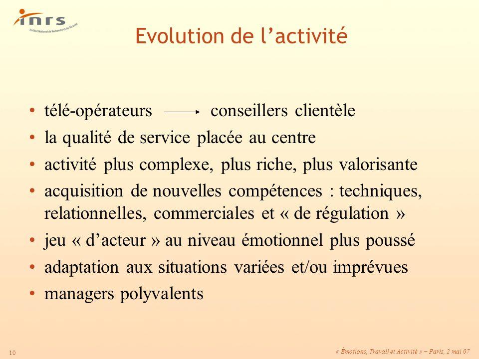 « Émotions, Travail et Activité » – Paris, 2 mai 07 10 télé-opérateurs conseillers clientèle la qualité de service placée au centre activité plus comp