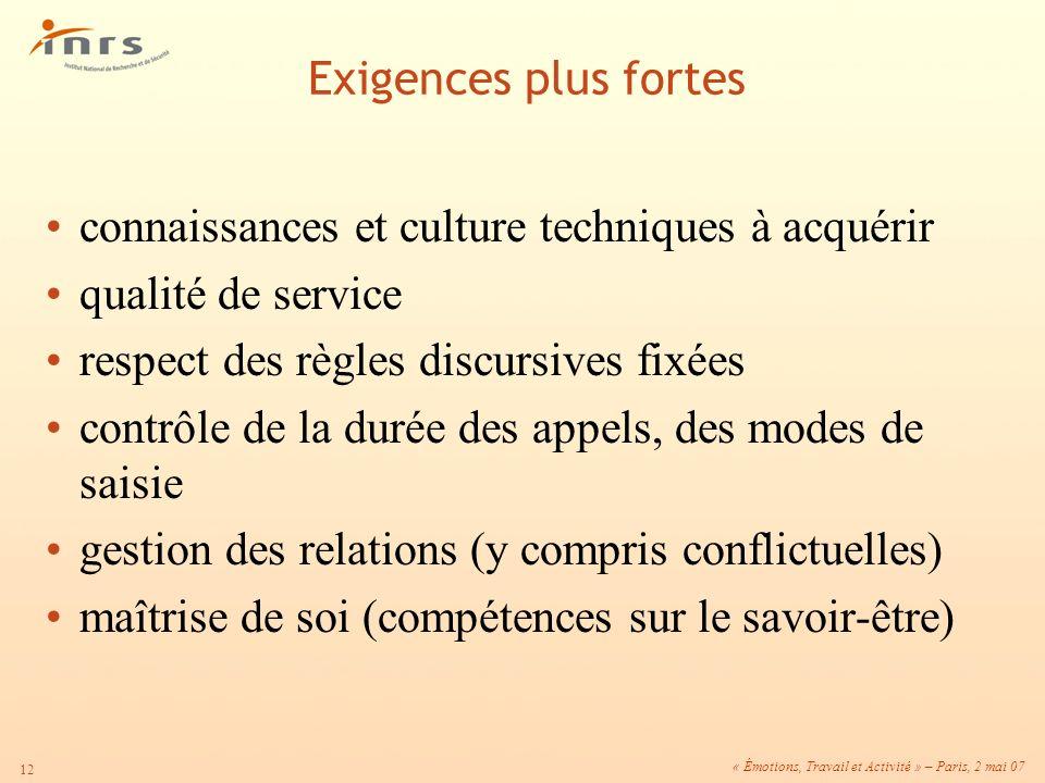 « Émotions, Travail et Activité » – Paris, 2 mai 07 12 connaissances et culture techniques à acquérir qualité de service respect des règles discursive