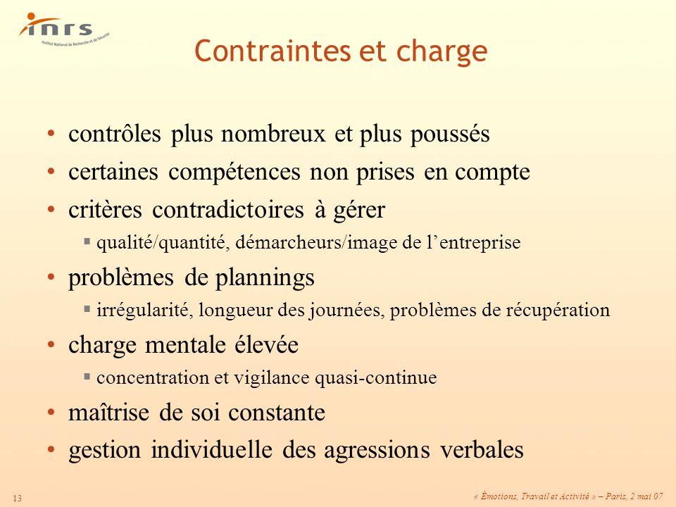 « Émotions, Travail et Activité » – Paris, 2 mai 07 13 contrôles plus nombreux et plus poussés certaines compétences non prises en compte critères con