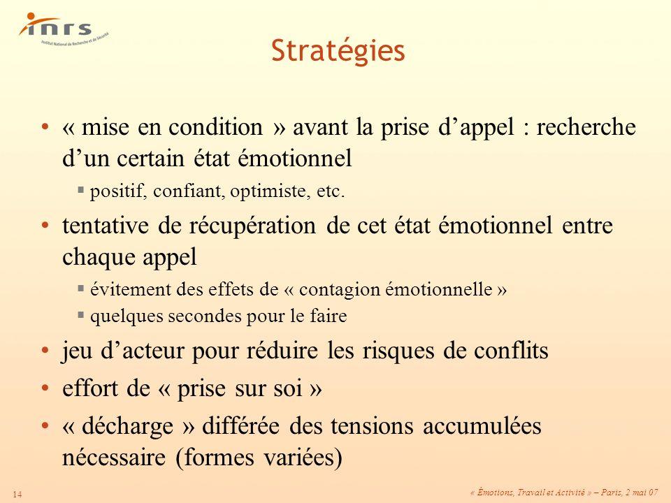 « Émotions, Travail et Activité » – Paris, 2 mai 07 14 « mise en condition » avant la prise dappel : recherche dun certain état émotionnel positif, co