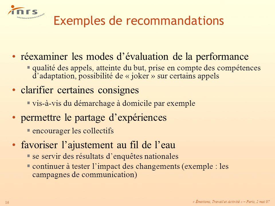 « Émotions, Travail et Activité » – Paris, 2 mai 07 16 réexaminer les modes dévaluation de la performance qualité des appels, atteinte du but, prise e