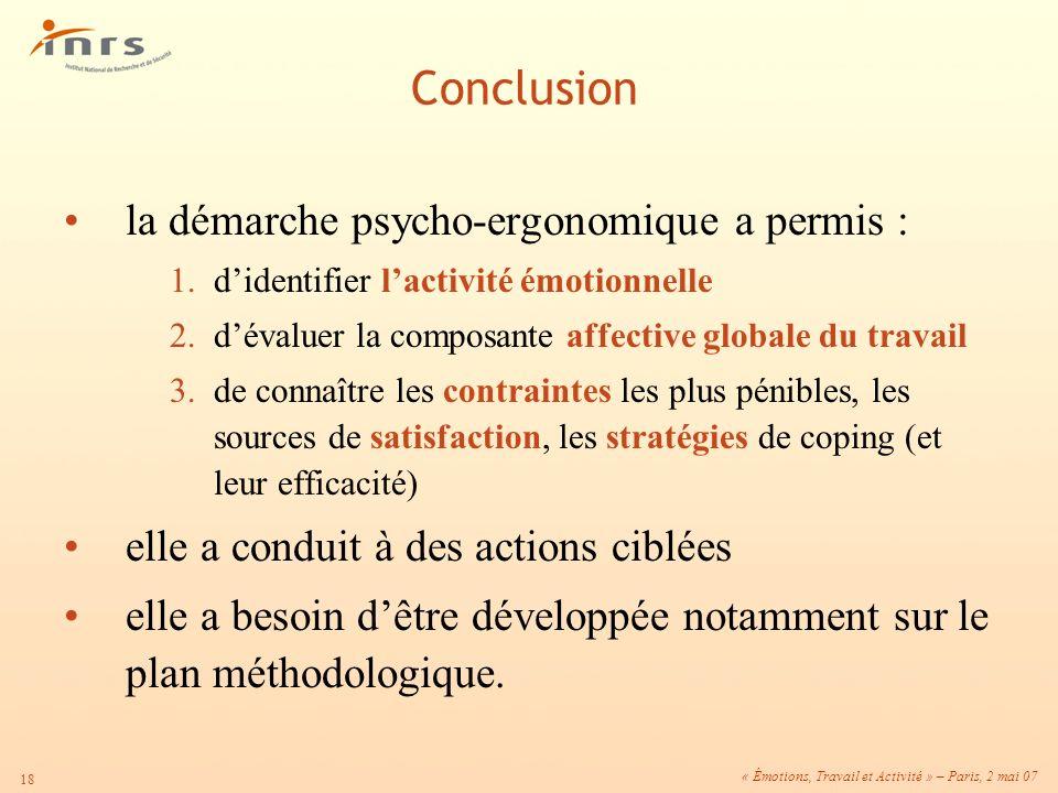 « Émotions, Travail et Activité » – Paris, 2 mai 07 18 la démarche psycho-ergonomique a permis : 1.didentifier lactivité émotionnelle 2.dévaluer la co