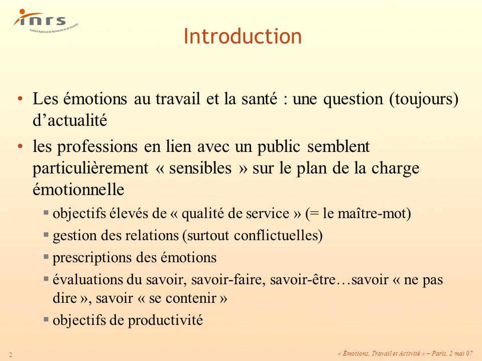 « Émotions, Travail et Activité » – Paris, 2 mai 07 2 Introduction Les émotions au travail et la santé : une question (toujours) dactualité les profes