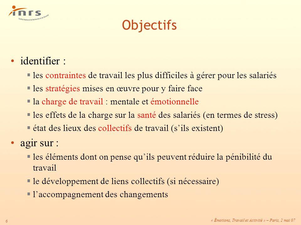 « Émotions, Travail et Activité » – Paris, 2 mai 07 6 identifier : les contraintes de travail les plus difficiles à gérer pour les salariés les straté