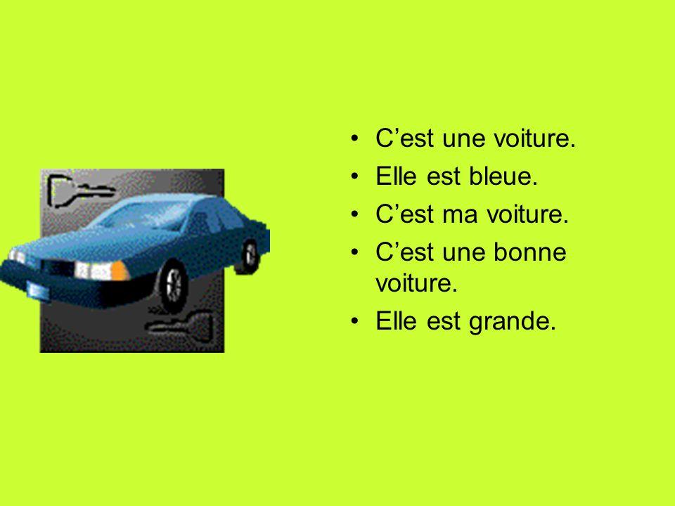 Cest une voiture. Elle est bleue. Cest ma voiture. Cest une bonne voiture. Elle est grande.