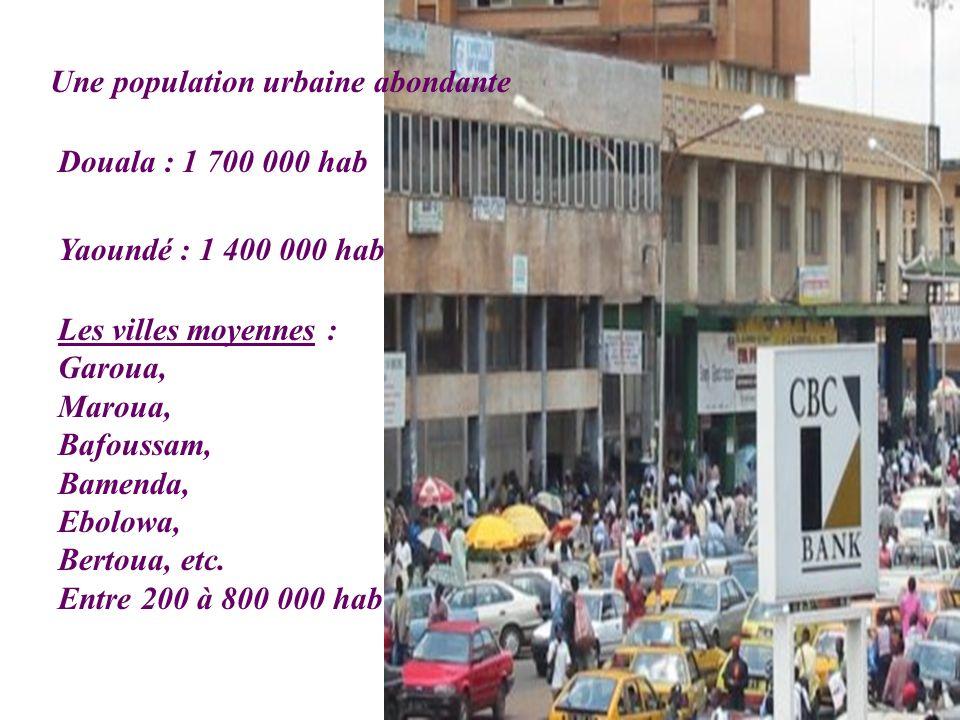 Une population urbaine abondante Douala : 1 700 000 hab Yaoundé : 1 400 000 hab Les villes moyennes : Garoua, Maroua, Bafoussam, Bamenda, Ebolowa, Ber