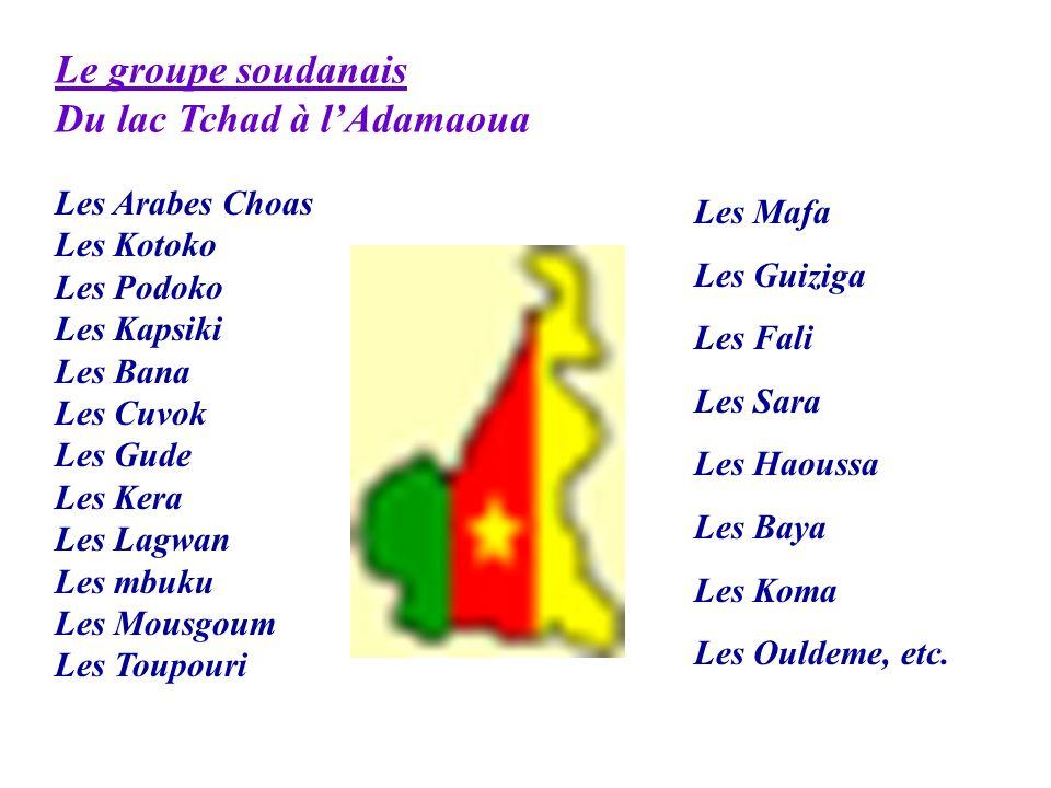 Le groupe soudanais Du lac Tchad à lAdamaoua Les Arabes Choas Les Kotoko Les Podoko Les Kapsiki Les Bana Les Cuvok Les Gude Les Kera Les Lagwan Les mb