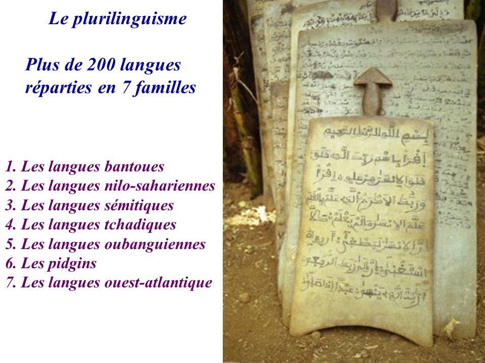 Le plurilinguisme Plus de 200 langues réparties en 7 familles 1. Les langues bantoues 2. Les langues nilo-sahariennes 3. Les langues sémitiques 4. Les