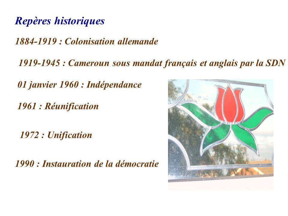 Repères historiques 1884-1919 : Colonisation allemande 1919-1945 : Cameroun sous mandat français et anglais par la SDN 01 janvier 1960 : Indépendance