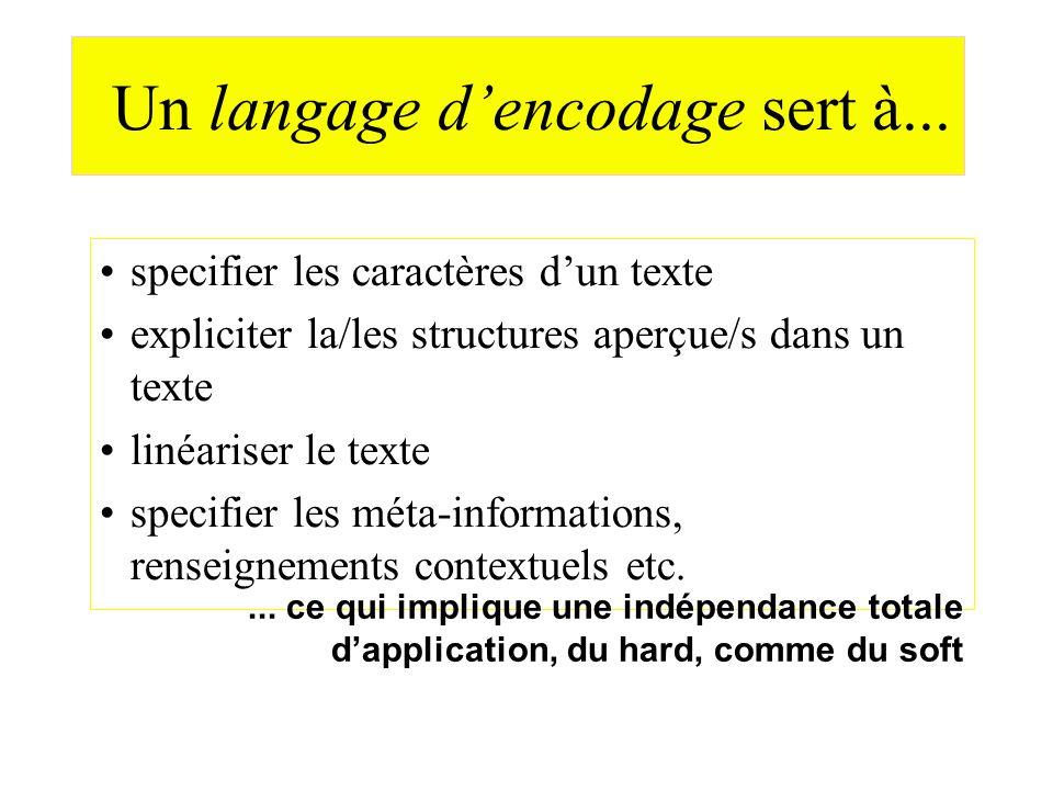 Un langage dencodage sert à... specifier les caractères dun texte expliciter la/les structures aperçue/s dans un texte linéariser le texte specifier l