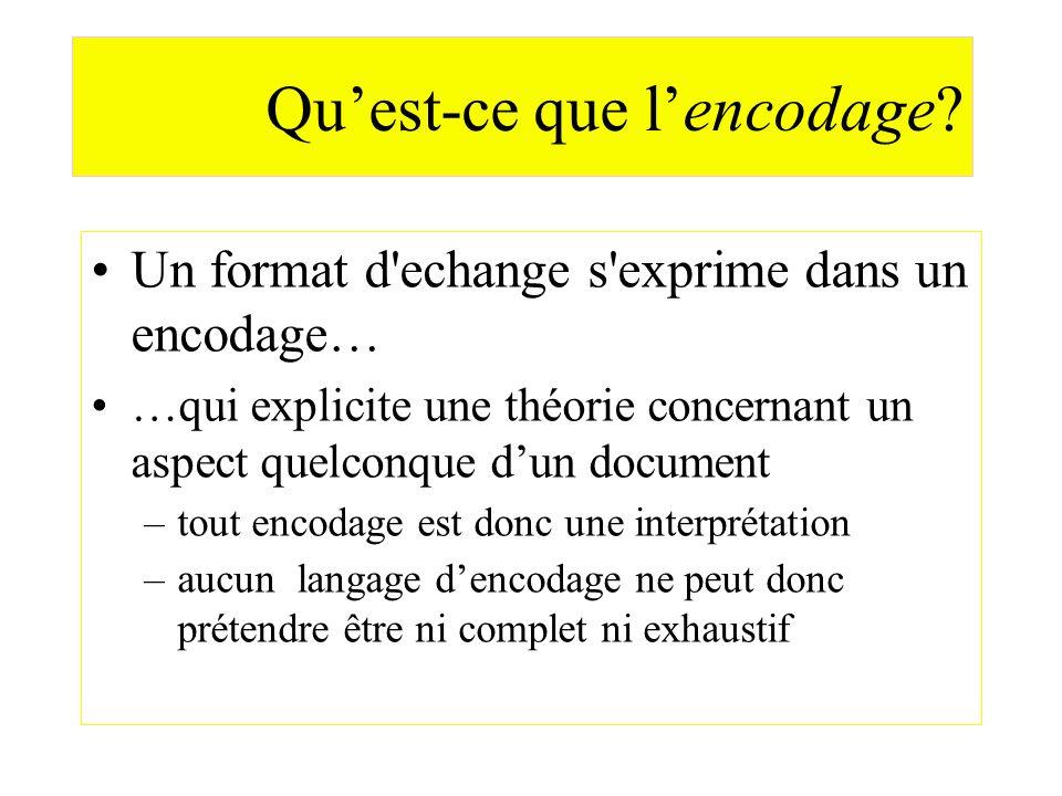 Quest-ce que lencodage? Un format d'echange s'exprime dans un encodage… …qui explicite une théorie concernant un aspect quelconque dun document –tout
