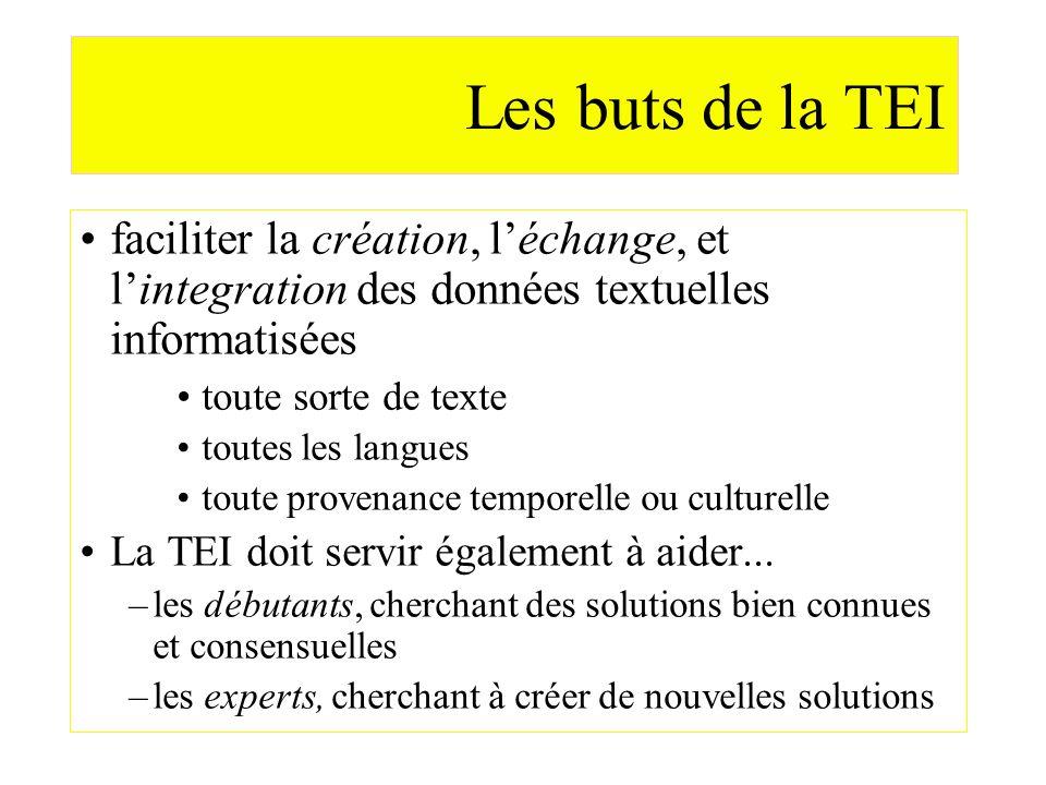 Les buts de la TEI faciliter la création, léchange, et lintegration des données textuelles informatisées toute sorte de texte toutes les langues toute