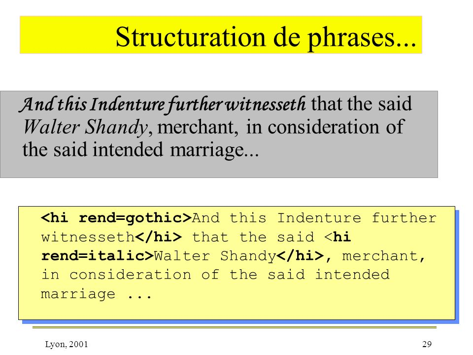 Lyon, 200129 Structuration de phrases... And this Indenture further witnesseth that the said Walter Shandy, merchant, in consideration of the said int