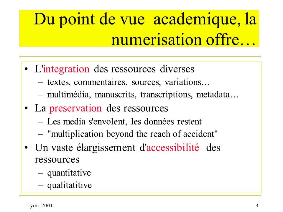 Lyon, 20013 Du point de vue academique, la numerisation offre… L'integration des ressources diverses –textes, commentaires, sources, variations… –mult