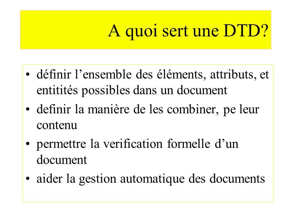 A quoi sert une DTD? définir lensemble des éléments, attributs, et entitités possibles dans un document definir la manière de les combiner, pe leur co