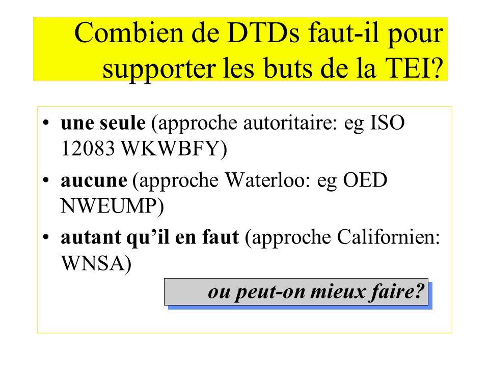 Combien de DTDs faut-il pour supporter les buts de la TEI? une seule (approche autoritaire: eg ISO 12083 WKWBFY) aucune (approche Waterloo: eg OED NWE