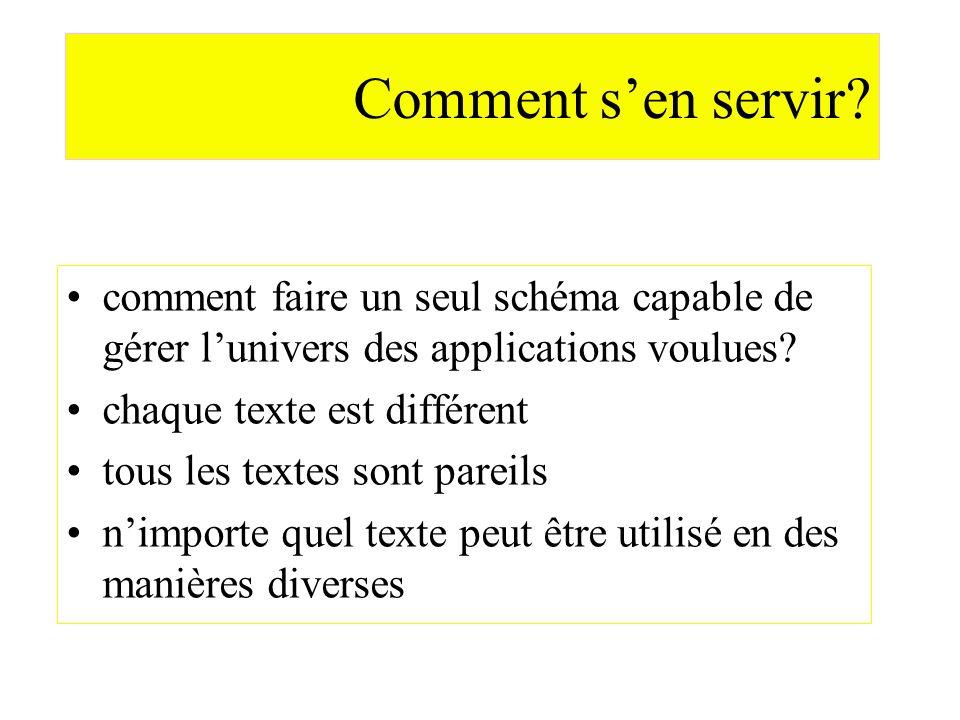 Comment sen servir? comment faire un seul schéma capable de gérer lunivers des applications voulues? chaque texte est différent tous les textes sont p