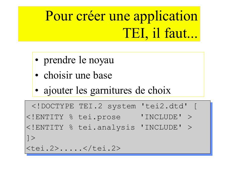 Pour créer une application TEI, il faut... prendre le noyau choisir une base ajouter les garnitures de choix <!DOCTYPE TEI.2 system 'tei2.dtd' [ ]>...
