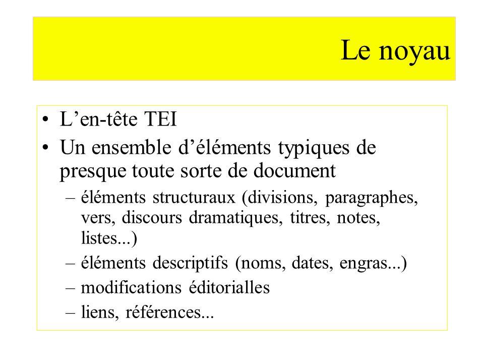 Le noyau Len-tête TEI Un ensemble déléments typiques de presque toute sorte de document –éléments structuraux (divisions, paragraphes, vers, discours