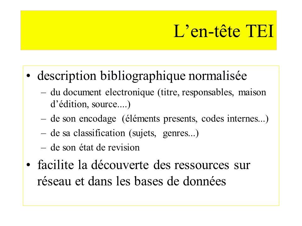 Len-tête TEI description bibliographique normalisée –du document electronique (titre, responsables, maison dédition, source....) –de son encodage (élé