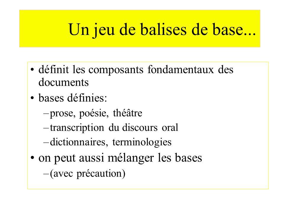 Un jeu de balises de base... définit les composants fondamentaux des documents bases définies: –prose, poésie, théâtre –transcription du discours oral