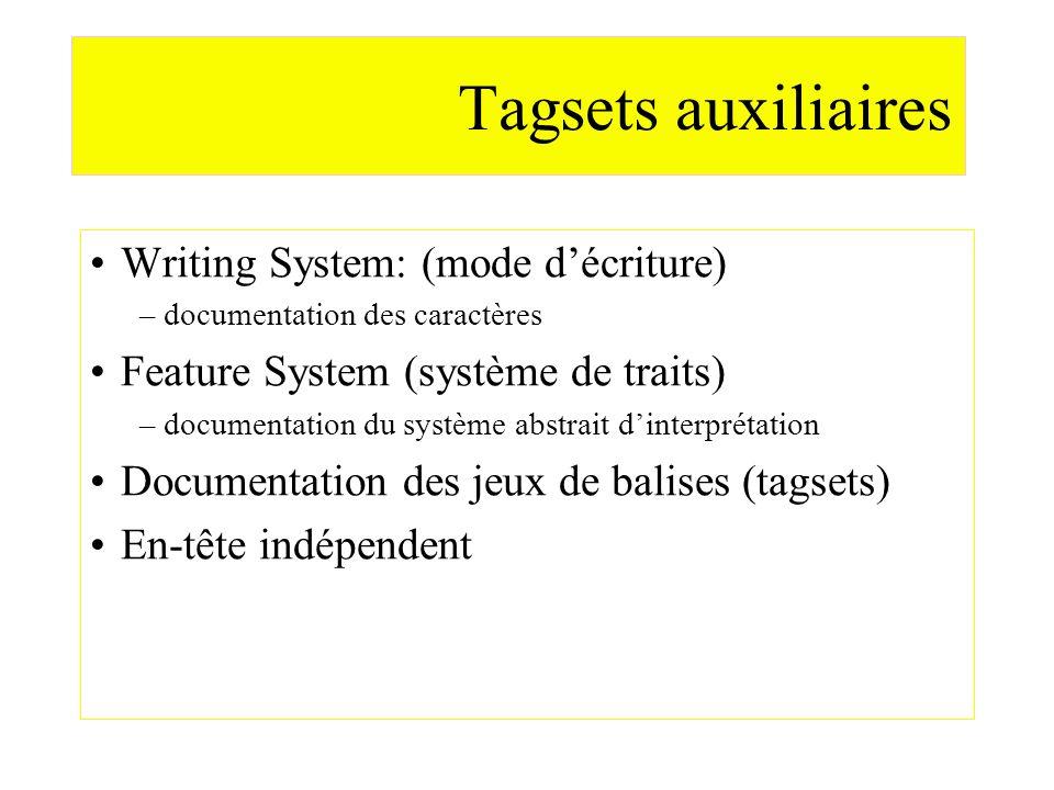 Tagsets auxiliaires Writing System: (mode décriture) –documentation des caractères Feature System (système de traits) –documentation du système abstra