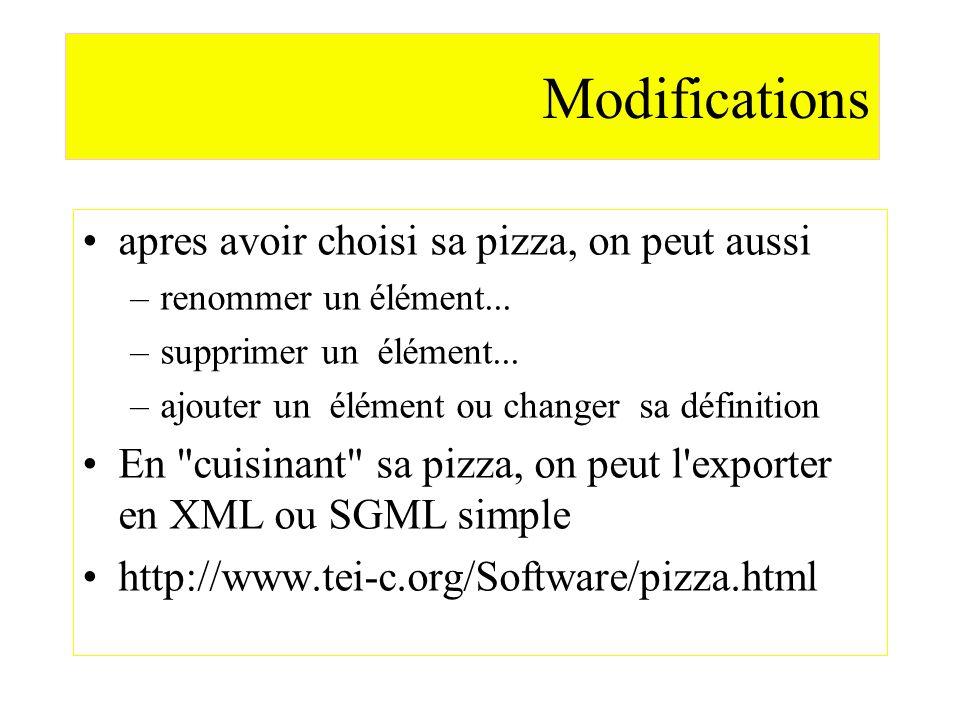 Modifications apres avoir choisi sa pizza, on peut aussi –renommer un élément... –supprimer un élément... –ajouter un élément ou changer sa définition