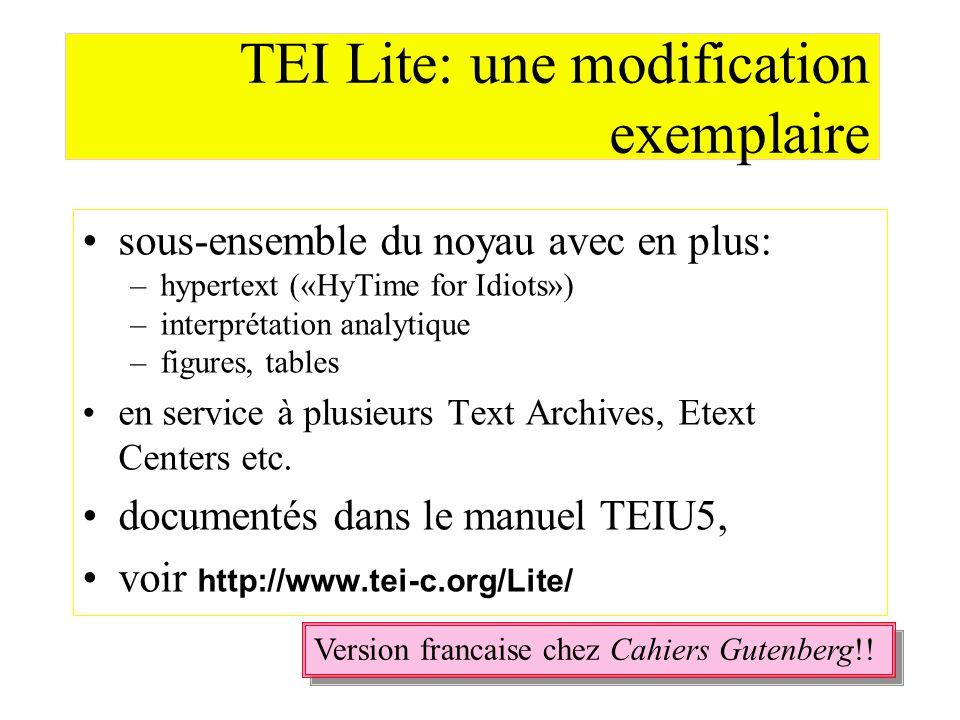 TEI Lite: une modification exemplaire sous-ensemble du noyau avec en plus: –hypertext («HyTime for Idiots») –interprétation analytique –figures, table