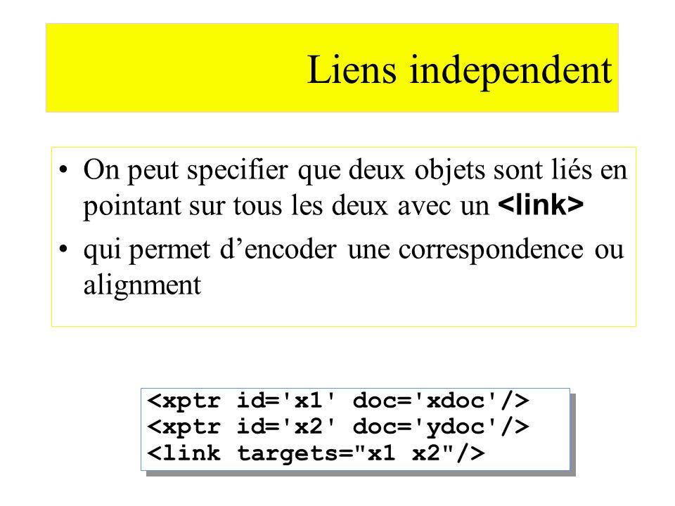Liens independent On peut specifier que deux objets sont liés en pointant sur tous les deux avec un qui permet dencoder une correspondence ou alignmen