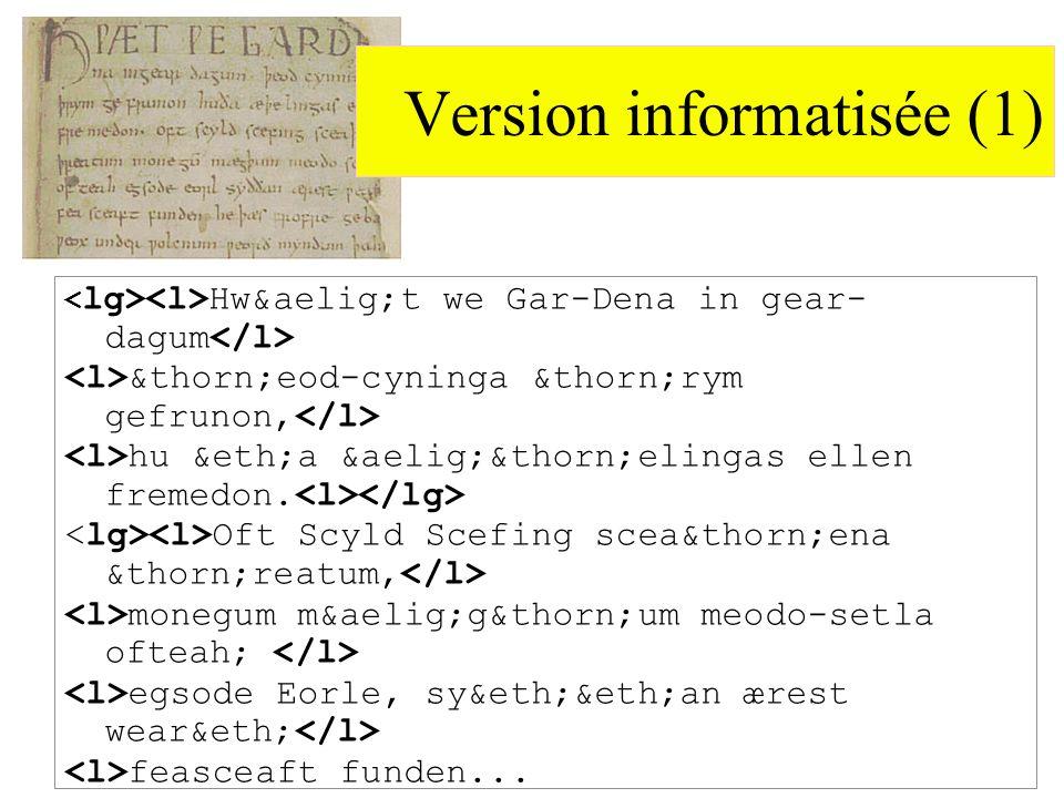 Version informatisée (1) Hwæt we Gar-Dena in gear- dagum þeod-cyninga þrym gefrunon, hu ða æþelingas ellen fremedon.