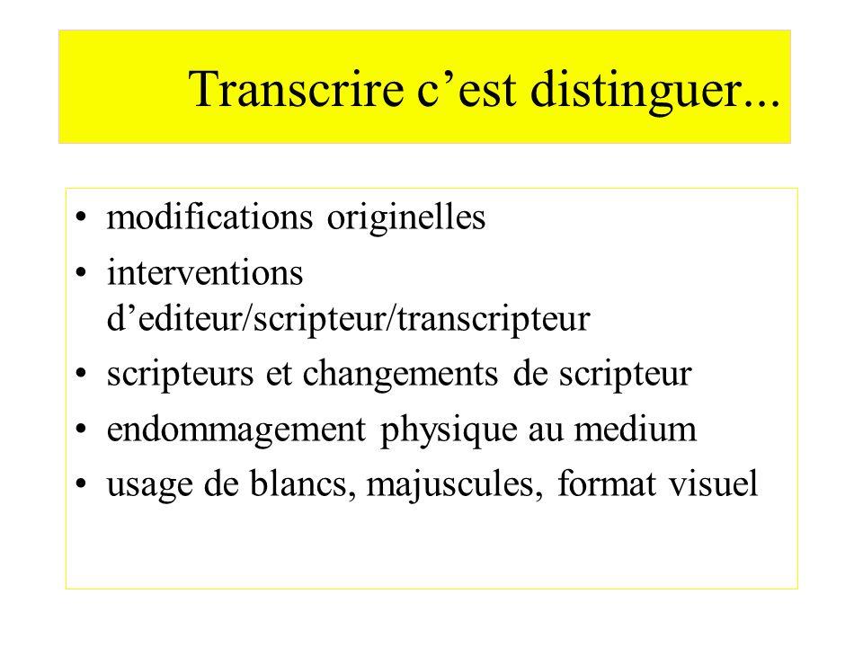 Transcrire cest distinguer... modifications originelles interventions dediteur/scripteur/transcripteur scripteurs et changements de scripteur endommag