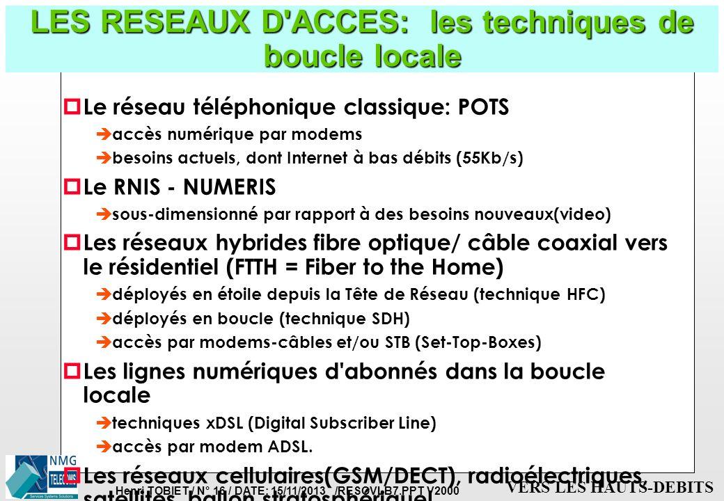 Henri TOBIET / N° 15 / DATE: 15/11/2013 /RESOVLB7.PPT V2000 VERS LES HAUTS-DEBITS LES RESEAUX D'ACCES: la Boucle Locale p Définitions de la Boucle Loc