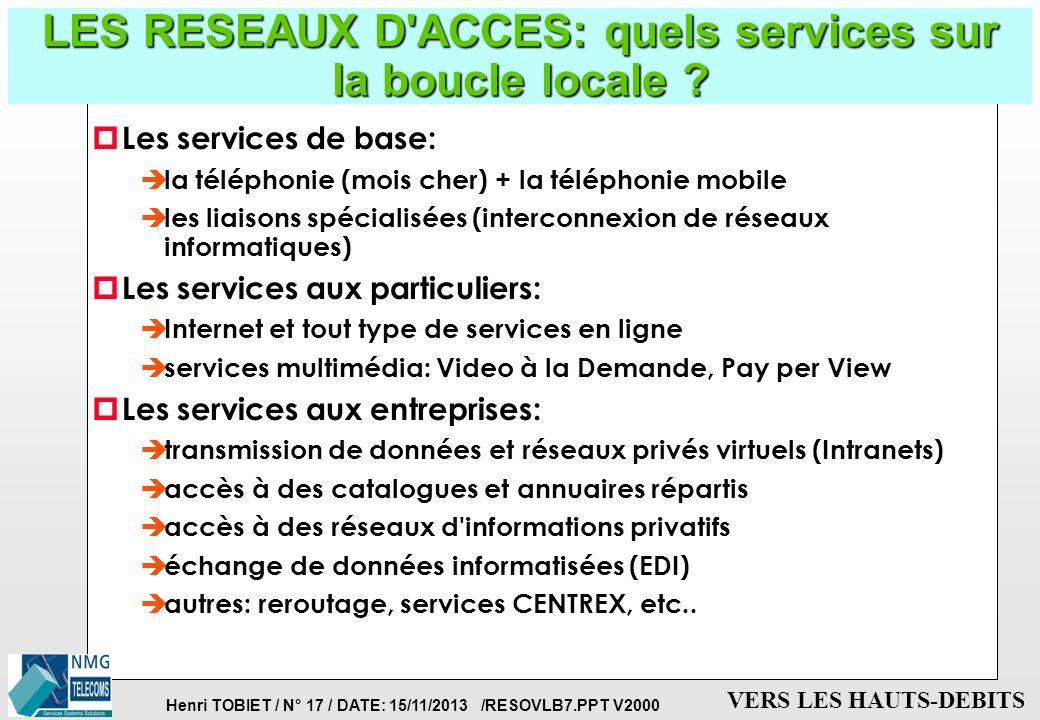 Henri TOBIET / N° 16 / DATE: 15/11/2013 /RESOVLB7.PPT V2000 VERS LES HAUTS-DEBITS LES RESEAUX D'ACCES: les techniques de boucle locale p Le réseau tél