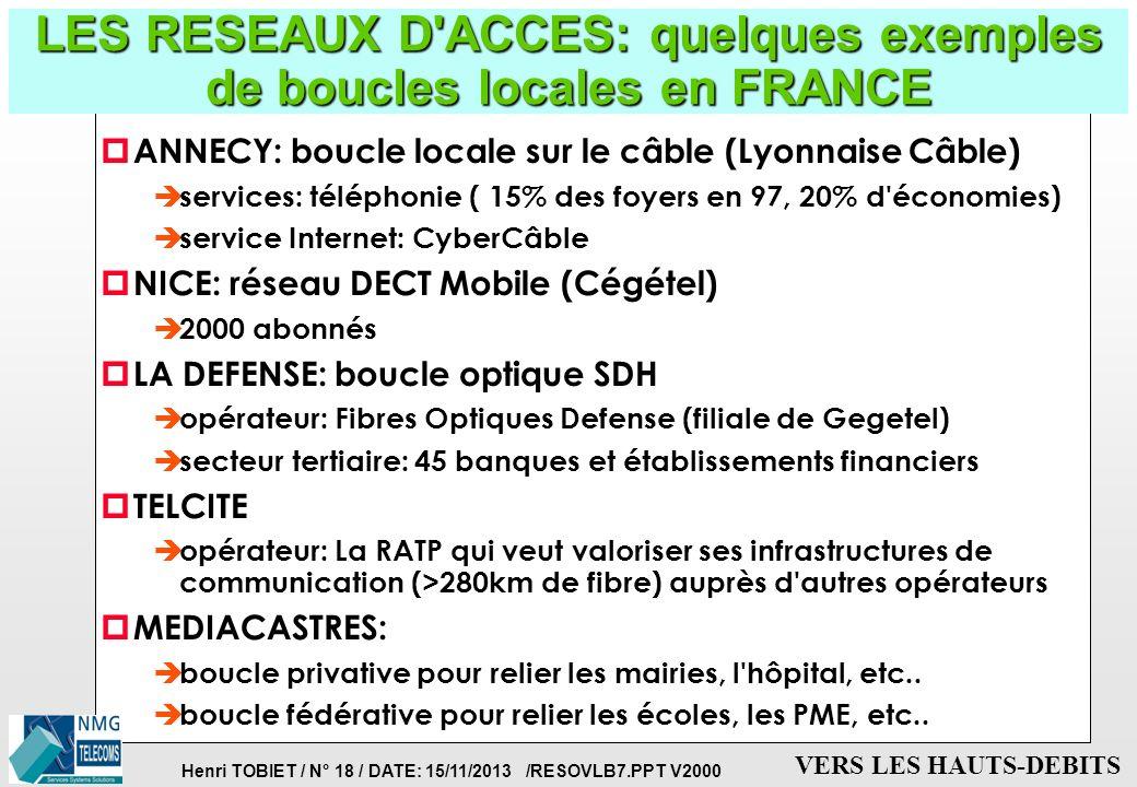 Henri TOBIET / N° 17 / DATE: 15/11/2013 /RESOVLB7.PPT V2000 VERS LES HAUTS-DEBITS LES RESEAUX D'ACCES: quels services sur la boucle locale ? p Les ser