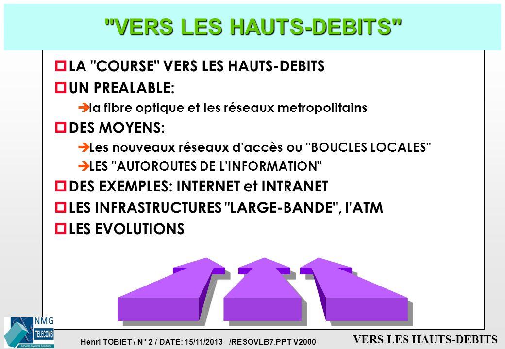 Henri TOBIET / N° 32 / DATE: 15/11/2013 /RESOVLB7.PPT V2000 VERS LES HAUTS-DEBITS LES SERVICES DE L INTRANET p Services frontaux pour les usagers: è le courrier électronique (e-mail) è le Web (au minimum le protocole HTTP) è les groupes de discussion (news) è le transfert de fichiers (FTP) è les annuaires (LDAP et autres) è l accès distant (PPP ou autres) p Services dorsaux pour l administration: è la base de données è le firewall ou le proxy: contrôle les échangs entre Inernet et Intranet, ou entre différents sites d un Intranet è le serveur de noms (DNS) è le service de sauvegarde