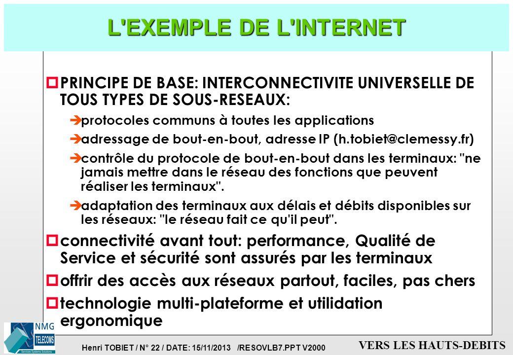 Henri TOBIET / N° 21 / DATE: 15/11/2013 /RESOVLB7.PPT V2000 VERS LES HAUTS-DEBITS LES AUTOROUTES DE L'INFORMATION p MISE EN COMMUN DES INFRASTRUCTURES