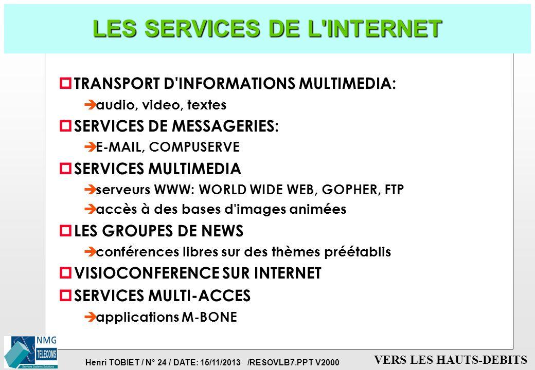 Henri TOBIET / N° 23 / DATE: 15/11/2013 /RESOVLB7.PPT V2000 VERS LES HAUTS-DEBITS LA TOPOLOGIE D' INTERNET RESEAU C RESEAU A (réseau téléphonique comm