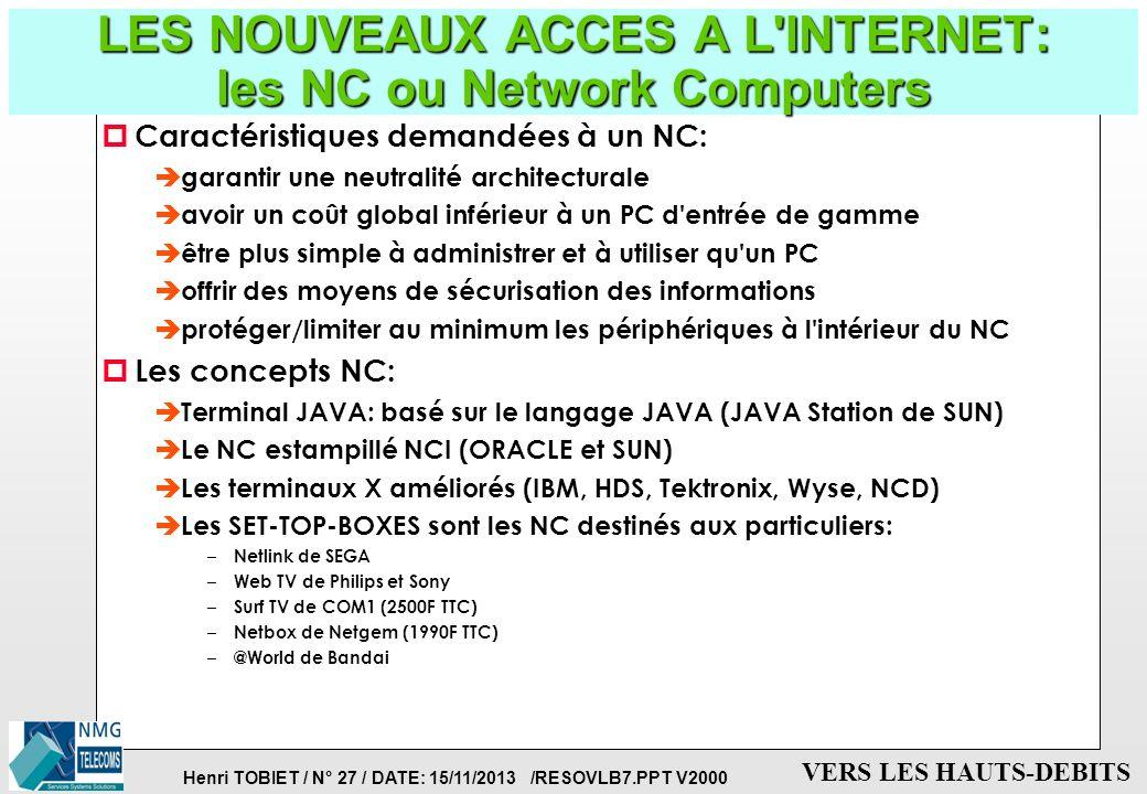 Henri TOBIET / N° 26 / DATE: 15/11/2013 /RESOVLB7.PPT V2000 VERS LES HAUTS-DEBITS LE COUT DE L'INTERNET (fin 97) p COUT MATERIEL: è un ordinateur (con