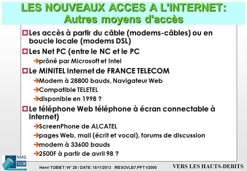 Henri TOBIET / N° 27 / DATE: 15/11/2013 /RESOVLB7.PPT V2000 VERS LES HAUTS-DEBITS LES NOUVEAUX ACCES A L'INTERNET: les NC ou Network Computers p Carac