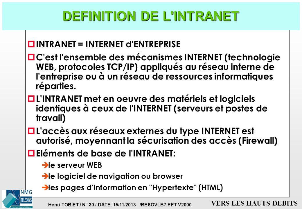 Henri TOBIET / N° 29 / DATE: 15/11/2013 /RESOVLB7.PPT V2000 VERS LES HAUTS-DEBITS LES NOUVEAUX ACCES A L'INTERNET Progressions depuis 1997-2001 p PC: