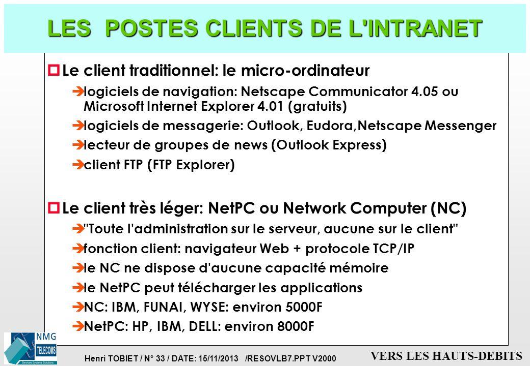 Henri TOBIET / N° 32 / DATE: 15/11/2013 /RESOVLB7.PPT V2000 VERS LES HAUTS-DEBITS LES SERVICES DE L'INTRANET p Services frontaux pour les usagers: è l