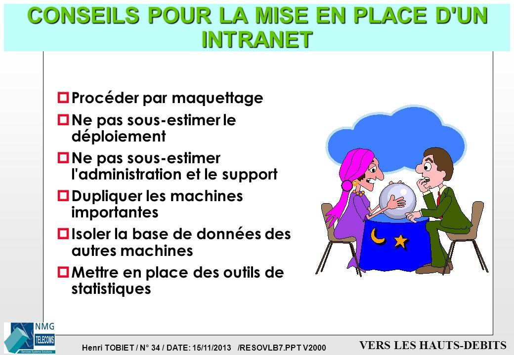 Henri TOBIET / N° 33 / DATE: 15/11/2013 /RESOVLB7.PPT V2000 VERS LES HAUTS-DEBITS LES POSTES CLIENTS DE L'INTRANET p Le client traditionnel: le micro-