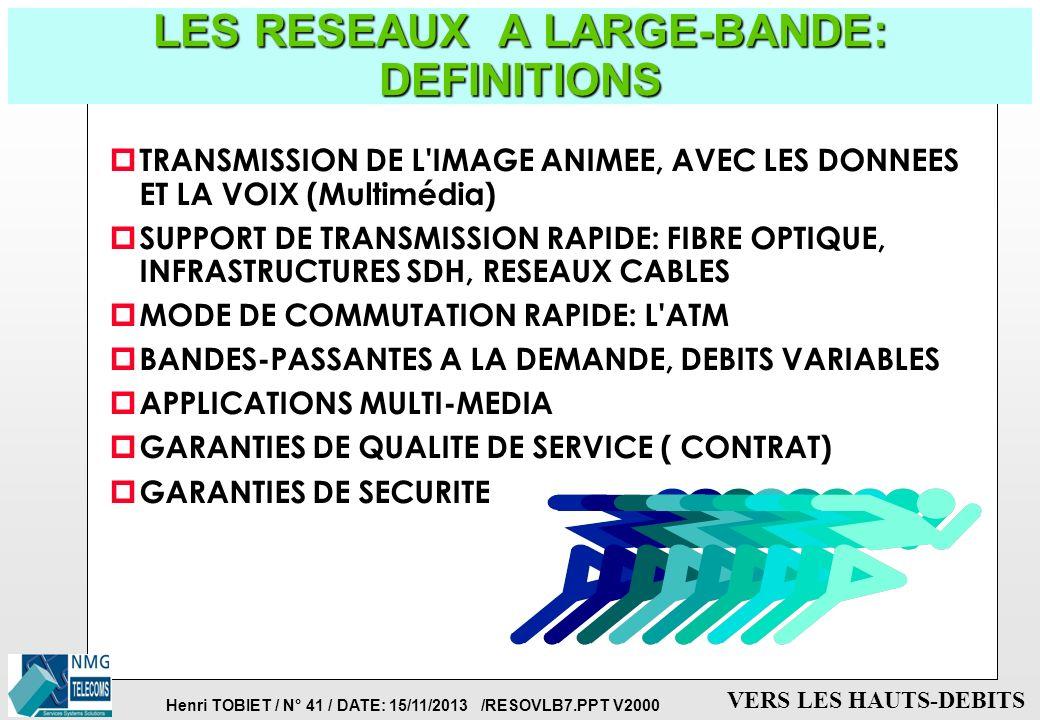 Henri TOBIET / N° 40 / DATE: 15/11/2013 /RESOVLB7.PPT V2000 VERS LES HAUTS-DEBITS FEDERATION DES RESEAUX: VERS UNE TECHNOLOGIE COMMUNE p RESEAUX LOCAU