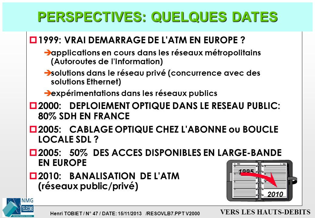 Henri TOBIET / N° 46 / DATE: 15/11/2013 /RESOVLB7.PPT V2000 VERS LES HAUTS-DEBITS EVOLUTION: PENETRATION DE L'ATM DANS LES RESEAUX PRIVES p TERMINAUX