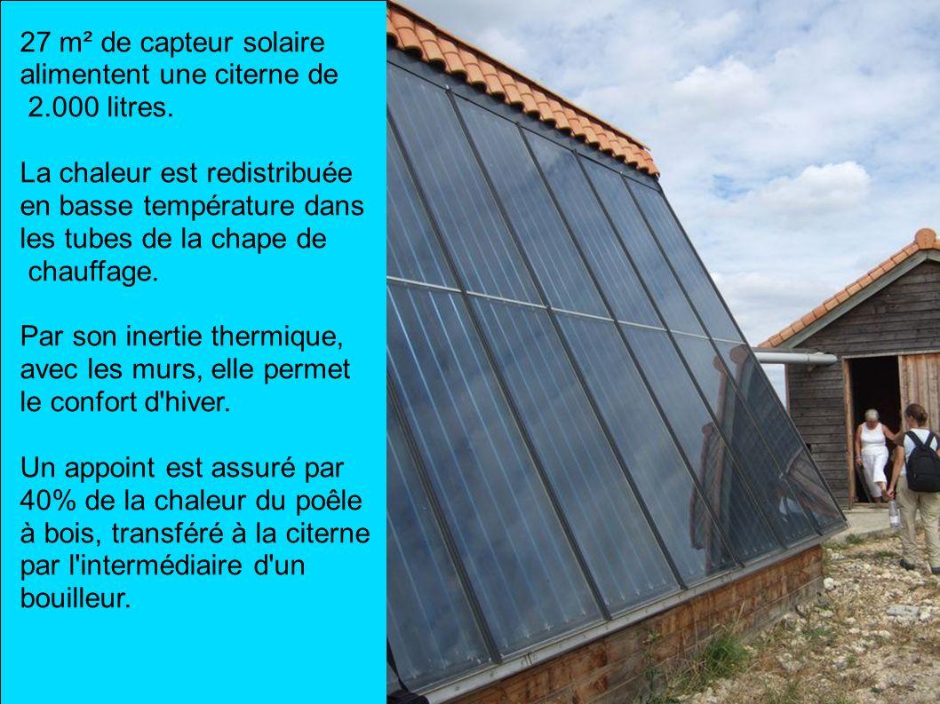 27 m² de capteur solaire alimentent une citerne de 2.000 litres. La chaleur est redistribuée en basse température dans les tubes de la chape de chauff