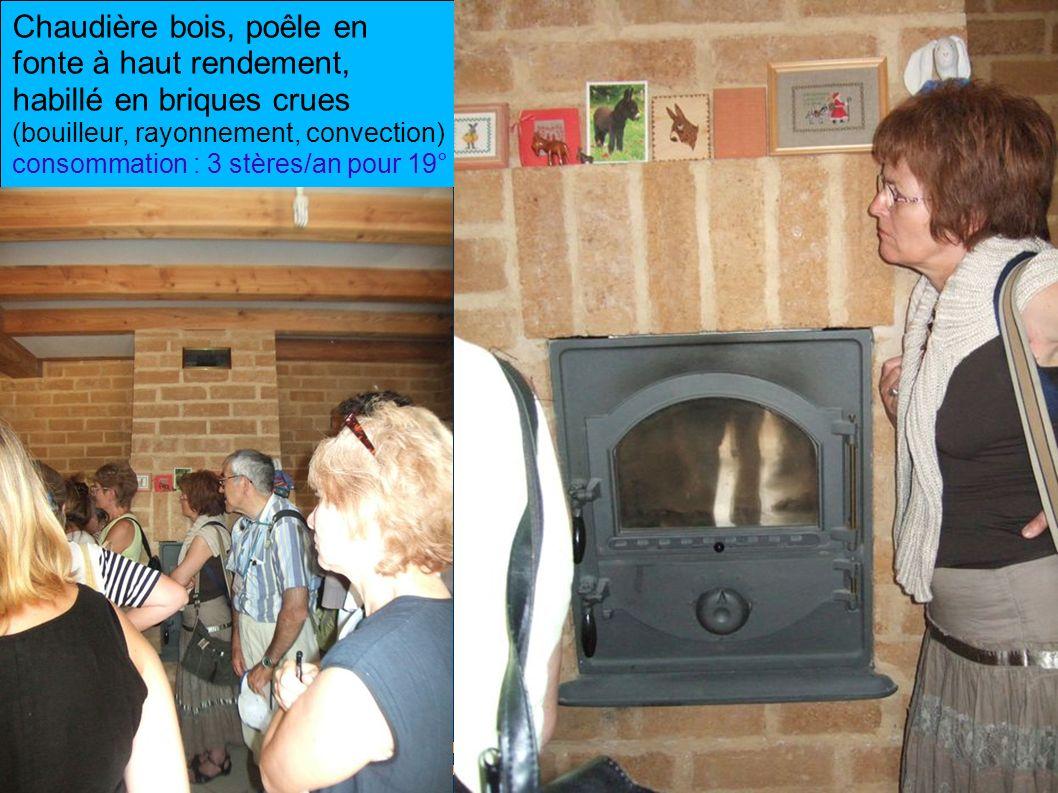 Chaudière bois, poêle en fonte à haut rendement, habillé en briques crues (bouilleur, rayonnement, convection) consommation : 3 stères/an pour 19°