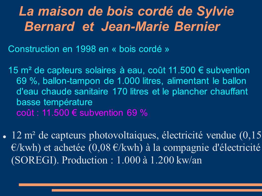 La maison de bois cordé de Sylvie Bernard et Jean-Marie Bernier 12 m² de capteurs photovoltaiques, électricité vendue (0,15 /kwh) et achetée (0,08 /kw