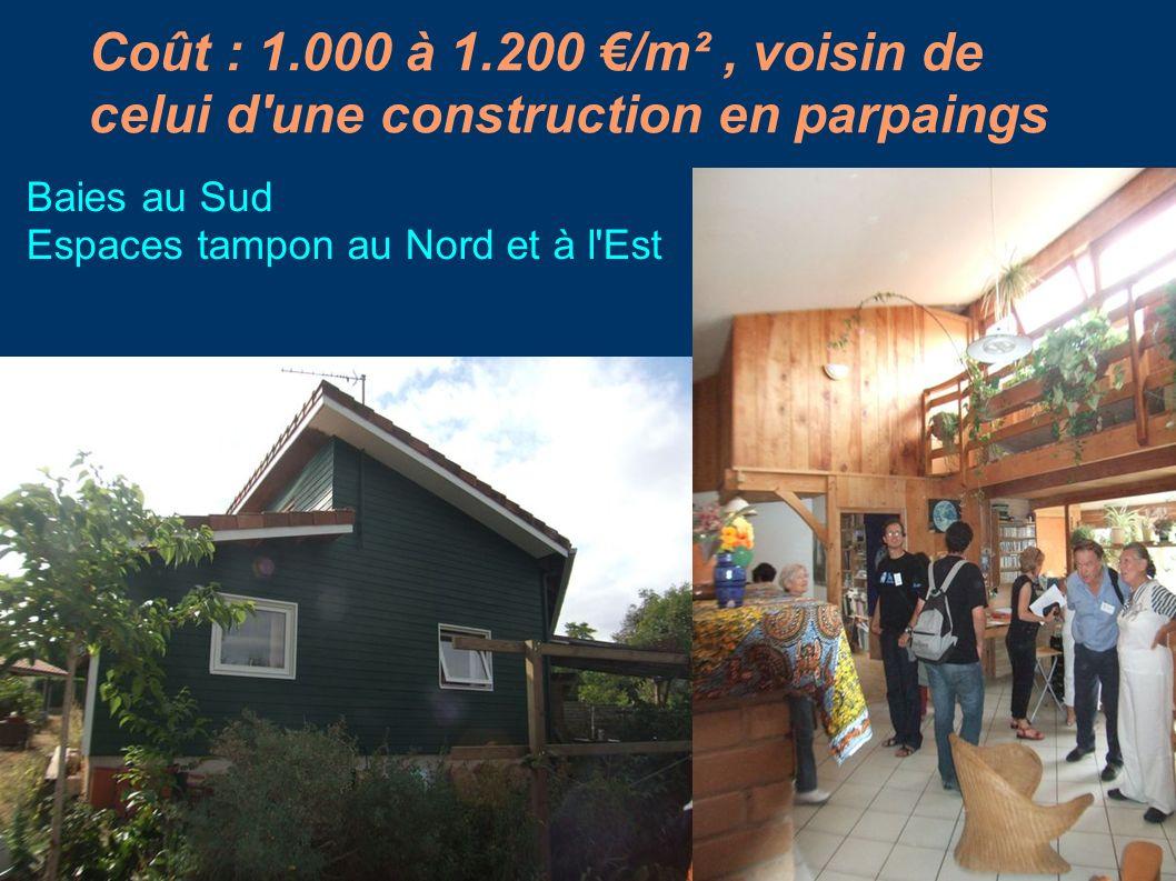 Coût : 1.000 à 1.200 /m², voisin de celui d'une construction en parpaings Baies au Sud Espaces tampon au Nord et à l'Est