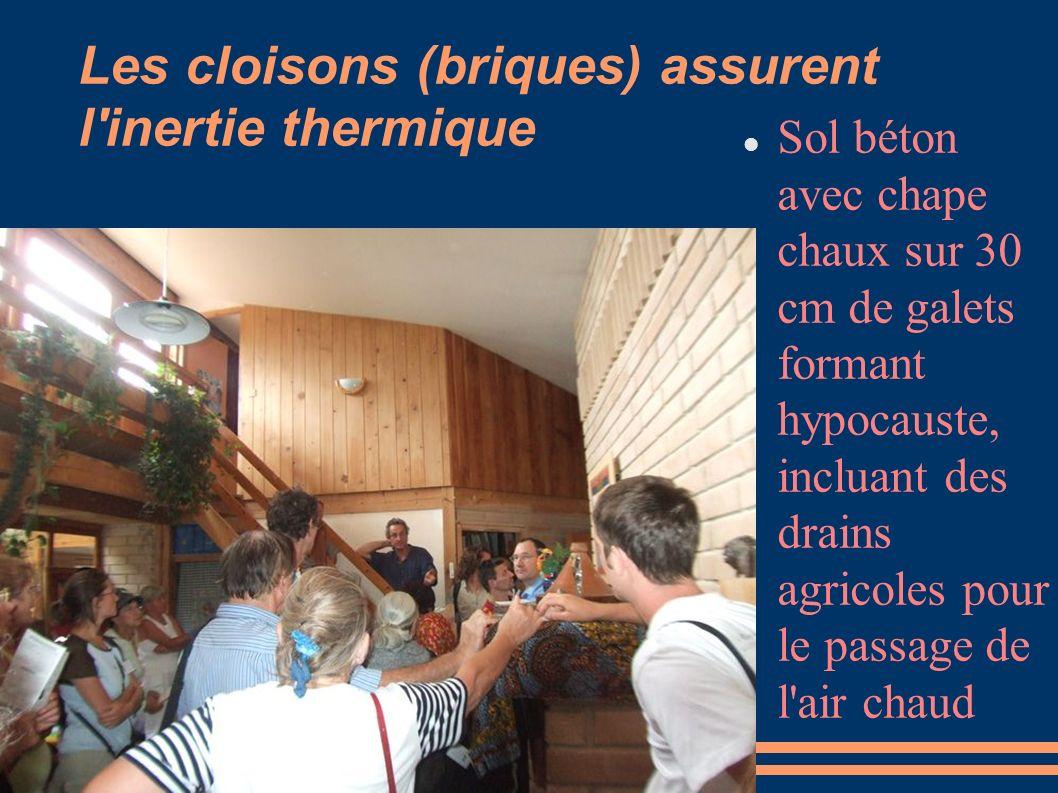 Les cloisons (briques) assurent l'inertie thermique Sol béton avec chape chaux sur 30 cm de galets formant hypocauste, incluant des drains agricoles p