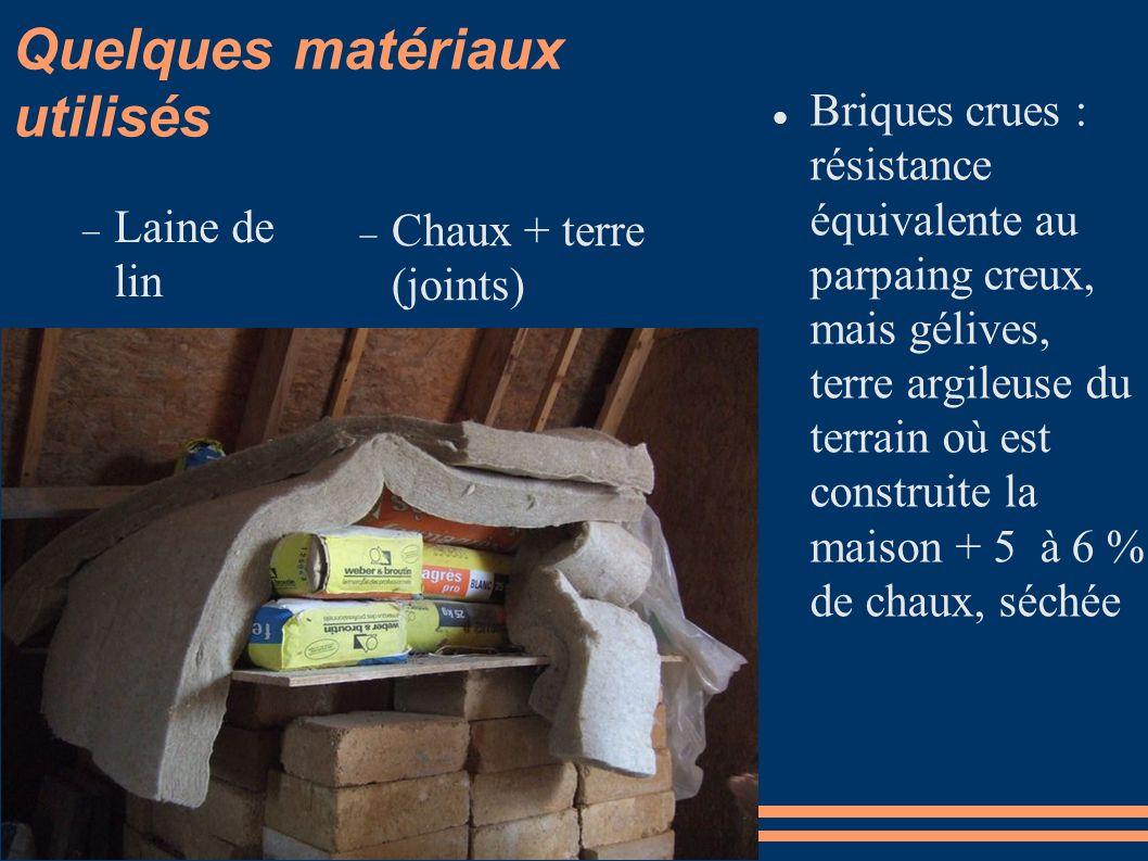 Quelques matériaux utilisés Briques crues : résistance équivalente au parpaing creux, mais gélives, terre argileuse du terrain où est construite la ma